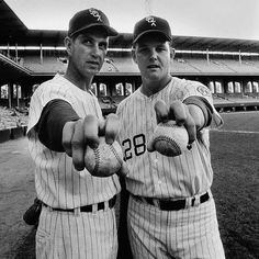 Hoyt Wilhelm and Wilbur Wood - Chicago White Sox Chicago Baseball, White Sox Baseball, Baseball Star, Baseball Photos, Basketball Pictures, Chicago White Sox, Baseball Field, Wood Chicago, Sports Photos