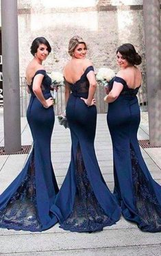 Gorgeous Mermaid Off the Shoulder Lace Jersey Prom Dress Sexy Formal Gown  Dark Navy Evening Gown 3488cbc60362