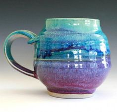 extra-large wheel thrown stoneware coffee mug. Outside is glazed in turquoise/purple and inside is glazed in turquoise. // Color: blue and purple are complimentary colors. Colors go from lighter to darker. Pottery Mugs, Glazes For Pottery, Ceramic Pottery, Pottery Art, Slab Pottery, Stoneware Mugs, Ceramic Cups, Ceramic Art, Porcelain Ceramic