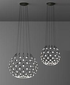 7 Mesh suspension lamp Luceplan Lamp Design, Ceiling Lights, Interior Lighting, Suspension Lamp, Light Fixtures, Dining Chandelier, Modern Ceiling Lamps, Diy Lighting, Lighting Design Interior