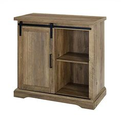 Walker-Edison-Furniture-Modern-Farmhouse-Buffet-Entryway-Bar-Cabinet-Storage-32-Inch-Brown-Reclaimed-Barnwood Sliding Doors, Storage, Accent Cabinet, Modern Furniture, Accent Doors, Adjustable Shelving, Walker Edison, Farmhouse Buffet, Reclaimed Barn Wood