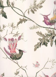 Hummingbirds Wallpaper Wallpaper with colourful birds on branches printed on cream background