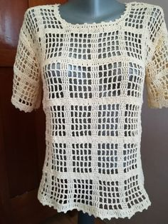 Handmade cotton crochet beige summer blouse/ crochet top/s Filet Crochet, Easy Crochet, Crochet Stitches, Crochet Top, Crochet Bodycon Dresses, Black Crochet Dress, Crochet Blouse, Knitting Patterns, Crochet Patterns