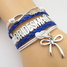 Handmade Royal Blue Wedding Wrap Bracelets Show off the Bride and the bridal party with one of these beautiful premium hand made braided leather cord wrap bracelets. We have them available for the Bri
