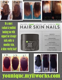 Hair Skin Nails is the best hair growth product I have ever seen! It works!! younique.myitworks.com
