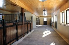 """Stalls - King """"Soverign"""" style Euro stalls with hinged doors, brass finials, stone aisle"""