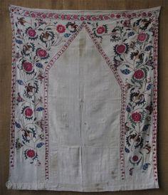 "Tajik Ora Tappa prayer design Suzani. Circa 1900 or earlier. Size: 41"" x 50"" (104cm x 127cm)"