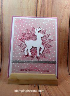Stampin' Up! CAS Christmas card with Frosted Medallions  stamp set  and designed by Demo Pamela Sadler. See more cards at stampinkrose.com #stampinkpinkrose #etsycardstrulyheart