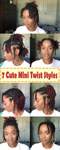 Looking for new ways to style your mini twists try these 7 easy styles protectivestyles 7 quick and easy styles you can do with your mini twists minitwiststyles naturaltwiststyles twiststyles minitwists shortnaturalhair naturalblackhair protective style Natural Twist Styles, Natural Hair Twists, Pelo Natural, Natural Hair Care, Protective Styles For Natural Hair Short, Natural Protective Hairstyles, 4c Natural Hairstyles Short, Short Hair Natural Styles, Short Hair Twist Out