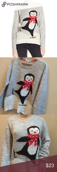 Jolt Sweater Get ready for the holiday season with this cute ice skating penguin, 100% acrylic, bust 21 inches length 24 inches, size medium, excellent used condition Jolt Sweaters Crew & Scoop Necks