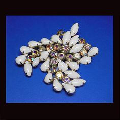 """Brooches/Pins - Vintage milk glass aurora borealis brooch. UNSIGNED """""""