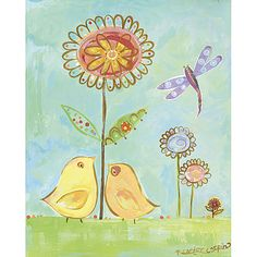 Yellow Love Birds Canvas Reproduction and Posh Inspiration 1-866-Poshtot in Designer Rooms : Eisleys Summer Escape at PoshTots