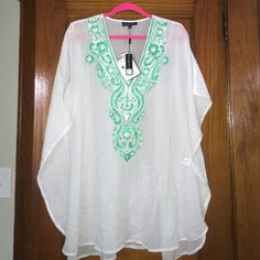 L/XL TUNIC/COVERUP New with tags coverup. Never work. Mint green and white. Beautiful beading. Swim Coverups
