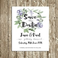 Personalized Save the Date printable Lilac Lavender Purple Floral Save the date DOWNLOAD Digital Save the Date Watercolor Flower wreath