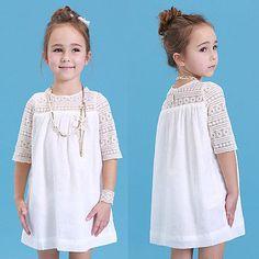 2016 New Kids Baby Girls Blanco Chic Floral Del Partido Del Cordón de Hadas Vestido Sólido Vestidos de Lujo Del Verano Del Bebé Ropa de Vestir Casuales