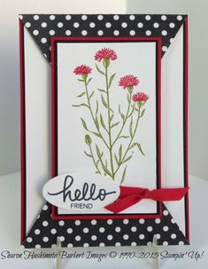 2 black/white/red fun fold cards on this post, with a link to the folding tutorial Fun Fold Cards, Cool Cards, Cards Diy, Making Greeting Cards, Greeting Cards Handmade, Cards For Friends, Friend Cards, Happy Friends, Paper Cards