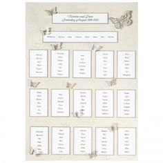 Silver 3D Butterfly Table Plan