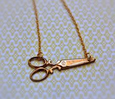 Tiny Brass Scissors Necklace--i'll wear this to cosmo class ;)