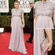 Kristen Bell pregnant and rocking this dress but if only the neck could have been a little bit open it would had been even better.