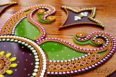 Purple & Green Rangoli Kundan Bollywood inspired Acrylic by Nirman