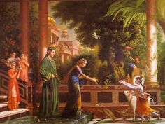 Krishna runs to foster parents Yashoda and Nanda Maharaja