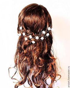 decorações de casamento feitas à mão.  Mestres Fair - feito à mão.  Compre grinalda branca com flores.  Jóias para a noiva.  Casamento, cabelo .. Handmade.