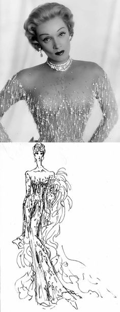 Jean Louis designed Marlene Dietrich's signature nude-colored souffle chiffon gown encrusted with crystals. He also designed the famous illusion dress worn by Marilyn Monroe at President Kennedy's 1962 birthday celebration.