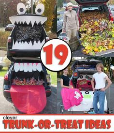 19 Easy and Clever Trunk or Treat Ideas that just might win you best of show! These are easy and cheap ideas to give you the best trunk! Halloween Food For Party, Halloween Boo, Holidays Halloween, Halloween Treats, Happy Halloween, Halloween Decorations, Halloween Costumes, Homemade Halloween, Costumes