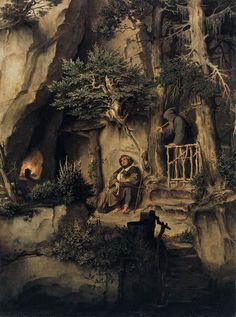 Moritz Von Schwind A Player with a Hermit hand painted oil painting reproduction on canvas by artist Jrr Tolkien, Legolas, Gandalf, Fantasy Kunst, Fantasy Art, Moritz Von Schwind, Carl Spitzweg, O Hobbit, Hieronymus Bosch