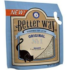"""$11.49-$19.26 Better Way Original - """"Hypo-allergenic and unscented, clay litter, for odor-free clumping action. Contains patented natural cat attractant, Sanel. Only cats smell this aromatic substance."""" http://www.amazon.com/dp/B000YJ2WLC/?tag=pin2pet-20"""