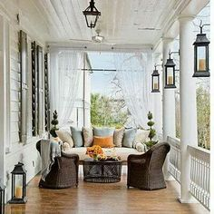 Beautiful Front Porch Design Ideas For Outdoor Living - Remember your front porch! Your porch has existing space and with the correct front porch ideas you can change it effectively into an outdoor living r. House, Home, House With Porch, Front Porch Decorating, Best Bed And Breakfast, Fall Decorations Porch, Outdoor Curtains, Porch Design, Southern Living