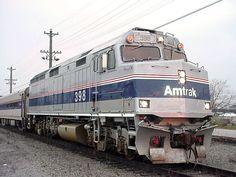 amtrak f40ph - Google Search Diesel Locomotive, Steam Locomotive, Milwaukee Road, New York Central, Jazz Age, Bahn, Train Rides, Bridges, Railroad Tracks