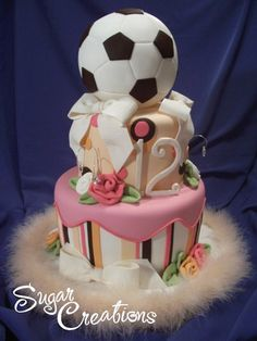 Soccer cake for a girl. A very special, lucky girl!! Stunning.