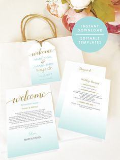 Destination Wedding Welcome Bag Note, Sea blue and gold Welcome letter, Welcome Tag, Beach welcome, Instant Download, Editable PDF