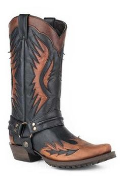 $329 Stetson+Laser+Wings+On+Br+Wingtip+Bl+Oiled+Biker+Outlaw+Cowboy+Boots+Urban+