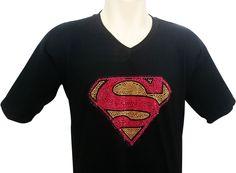 Camisetas e baby look 100% algodão, com estampa do Super Homem em strass, vários tamanhos e cores. <br>Entrega rápida. <br>Peça já a sua.