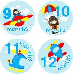 Monthly Baby Milestone Stickers Baby Boy by LittleLillyBugDesign