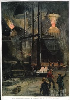 Bessemer Steel manufacture at Andrew Carnegie's Pittsburgh steel works in 1886: Artist: Granger. Engraving (Contemporary coloring.)