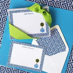 Blue Box Wood Note Cards and Envelopes, Set of 12 Identical