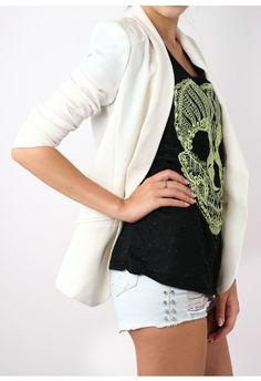 Slouchy boyfriend blazer + casual t-shirt, but I'd pair this with bright colored shorts.
