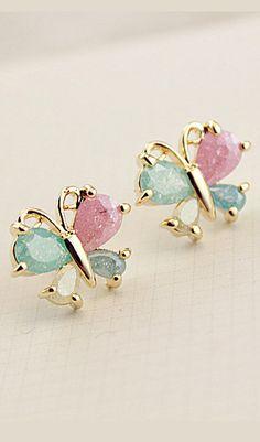 Cute colorful butterfly zircon earrings