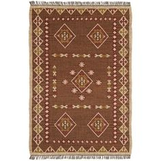 The Bradford is a timeless design boasting a rich brown background with medallions in brick and dark gold. The rug also features an alternating tan and dark gold diamond edging and is finished with a grey fringe.