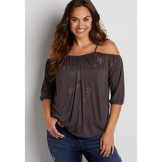 maurices Plus Size - Cold Shoulder Tee With Floral Print Design,... ($36) ❤ liked on Polyvore featuring tops, t-shirts, plus size, cold shoulder tops, womens plus tops, plus size cold shoulder tops, plus size tops and cut-out shoulder tops