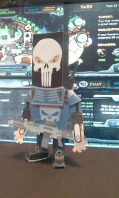 paper toy in skull man2