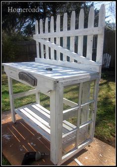 Beyond The Picket Fence: Potting Bench Inspiration,use window frames as doors to close on front or even on top make bench wider and narrow shelves w window frame doors on top