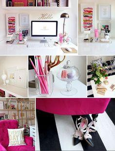 L Shape Desk_White Desk with Gold