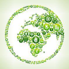 Globe Environmental Conservation Green Vector Button Pattern.