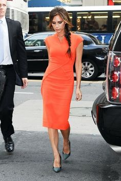 Fashionable Victoria Beckham steps out of her hotel to help kick off New York Fashion Week