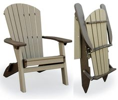 This beautifully built folding Adirondack chair is made by skilled Amish woodworkers. Using stainless steel hardware, this Adirondack chair is perfect for any outdoor environment. This quality handcrafted patio furniture piece is construc Adirondack Chair Plans, Polywood Adirondack Chairs, Adirondack Furniture, Lawn Furniture, Recycled Furniture, Rustic Furniture, Outdoor Furniture, Outdoor Shower Fixtures, Outdoor Chairs
