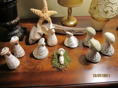 One of my favorite nativity scenes made from shells purchased at the beach.